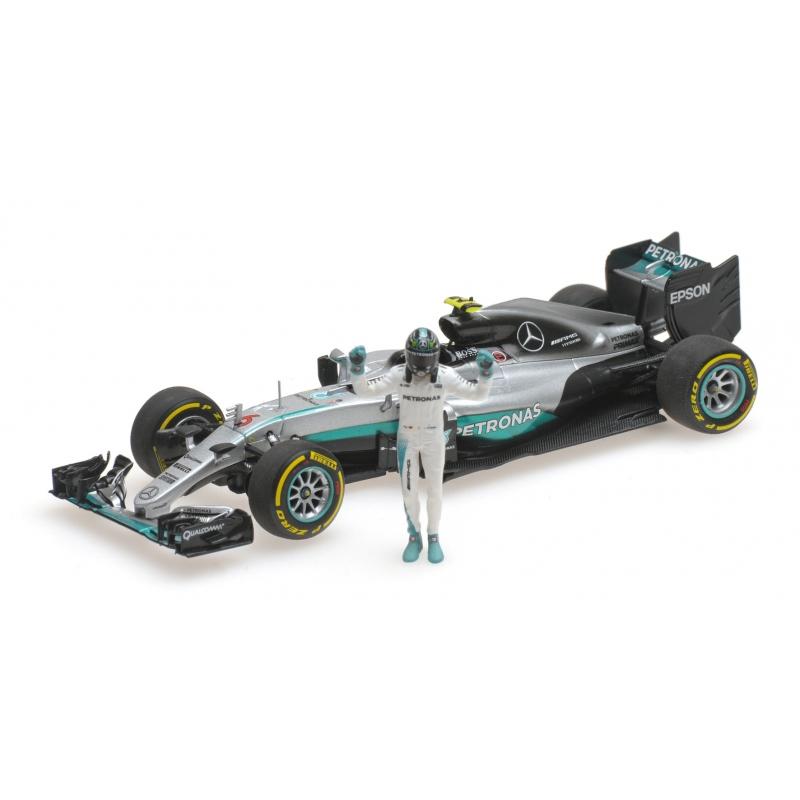MINICHAMPS Mercedes W07 Rosberg Champion du Monde 2016 (Avec figurine)